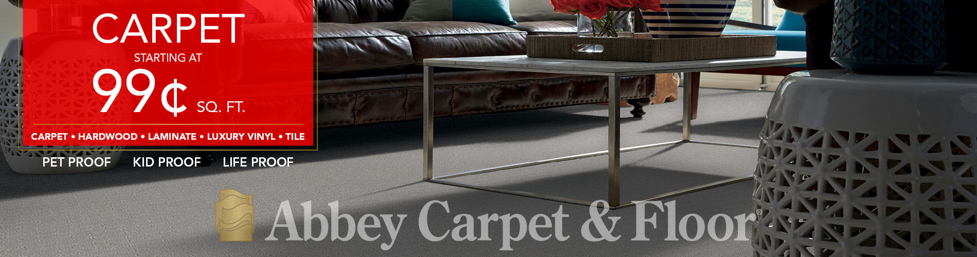 Carpet starting at 99¢ sq.ft. now at Abbey Carpet & Floor of Puyallup