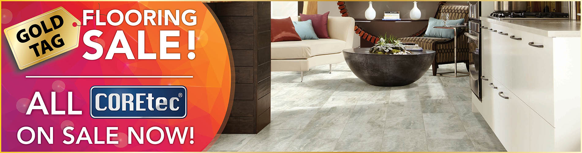 COREtec® luxury vinyl flooring on sale now during the National Gold Tag Flooring Sale this month at Abbey Carpet & Floor in Puyallup!
