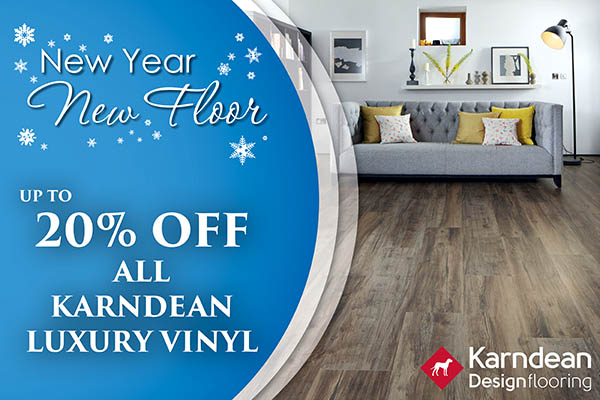 Up to 20% OFF all Karndean Luxury Vinyl during the New Year New Floor sale at Abbey Carpet & Floor in Puyallup!